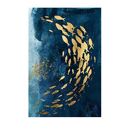 erthome Dekorativer Anstrich-nordischer moderner Goldener Fisch-Aquarell-rahmenloser Malerei-Kern (B, 20x30cm)