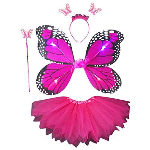 Vivianu 4 Stück Simulation LED Schmetterling Flügel Kostüme Set für Kinder Erwachsene Kinder Tutu Rock Spitze Stab Stab Kleid Prinzessin Girls Party Up 2