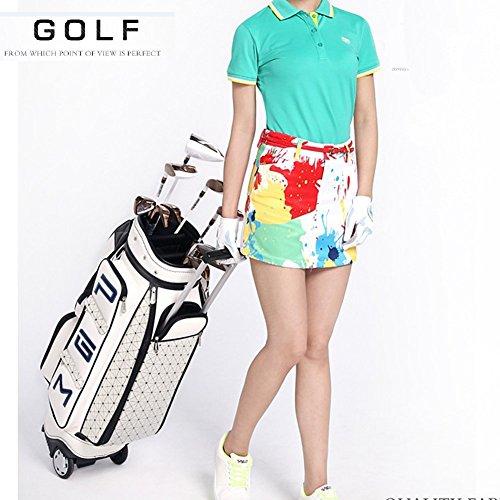 Golf-taschen Frauen Für (PGM Frauen Rädern Golf Stand Tragetasche–-- PU GOLF CLUBS Tasche, weiß)