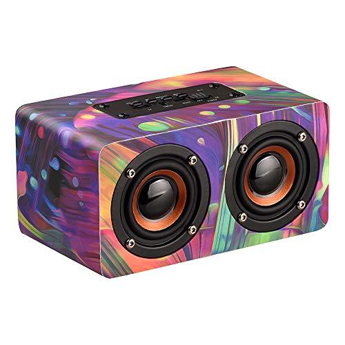 Dual Woofer (Docooler Wooden Wireless BT Lautsprecher Tragbare Lautsprecher HiFi Schock Bass Altavoz TF FM Radio Soundbar Music Player Eingebautes Mikrofon mit Dual Passive Woofer (Multicolor))