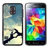Graphic4You You Make Me Complete Heart Hands love Theme Design Harte Dünn Hülle Tasche Schale Schutzhülle für Samsung Galaxy S5 Mini
