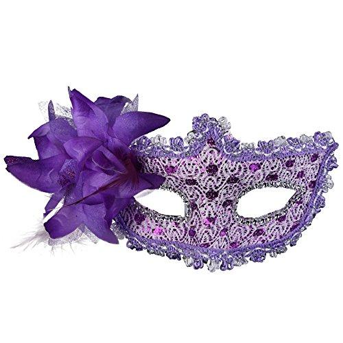 Hemore Venezianischen Augenmaske Strass-Steinen Maske Lila Venezia Sexy Lace Masquerade Maske