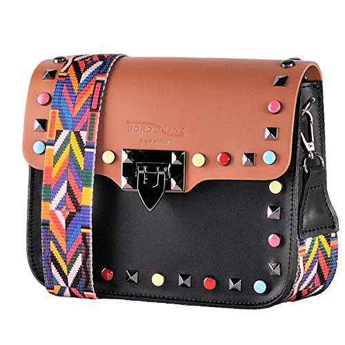 e tessuto ARIANNA BORDERLINE tracolla Pochette borchie in Vera Marrone con Made Nero in 100 colorata in Italy Pelle vxHvqOZ4