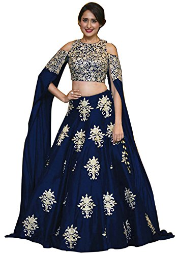 Siddeshwary Fab Women\'s Navy Blue Taffeta Silk Embroidered Lehenga Choli For Women And Girl ( L-03 blue Butterfly )