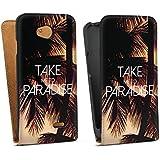 LG L70 Tasche Schutz Hülle Walletcase Bookstyle Palmen Urlaub Sommer