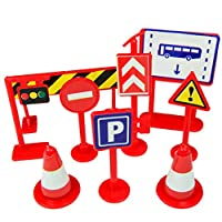 Calvinbi Car Toy Accessories Traffic Road Signs 9pcs Kids Children Play Learn Toy Game Light Signal Road Series Multi-Colored Children