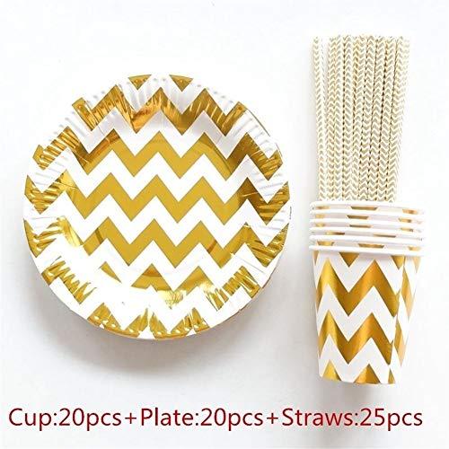 Einweg Pappteller Tassen Servietten Stroh Kinder Party Geschirr Sets Kinder Geburtstag Brautdusche Mädchen Tag Decor (Color : Gold Wave) ()