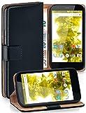 moex® Booklet mit Flip Funktion [360 Grad Voll-Schutz] für Motorola Moto G | Geldfach & Kartenfach + Stand-Funktion & Magnet-Verschluss, Schwarz