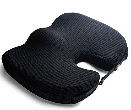 ODEER Sitzkissen für Bürostuhl Schutz Akne Gute Qualität Memory-Baumwolle Kissen Komfortabel und atmungsaktiv Ischias Pain Relief und Hip Shaping, schwarz