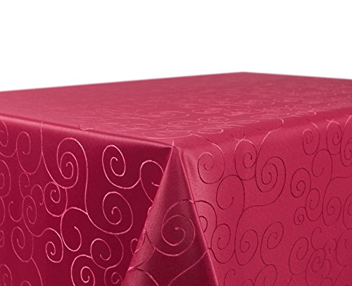 Tischdecke Ornamente Kreise Motiv, Damast Stoff bügelfrei, Größe und Farbe wählbar, Bordeaux Eckig 160x260 cm, Beautex