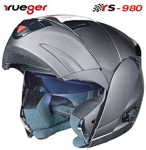 rueger Klapphelm RS-980 Steingrau mit Bluetooth und getöntem inneren Klappvisier. Größe M (57-58)