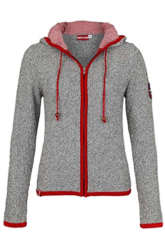 Almgwand Damen Damen Trachten Strickjacke mit Kapuze grau, 0426-GRAU/ROT (rot), 44
