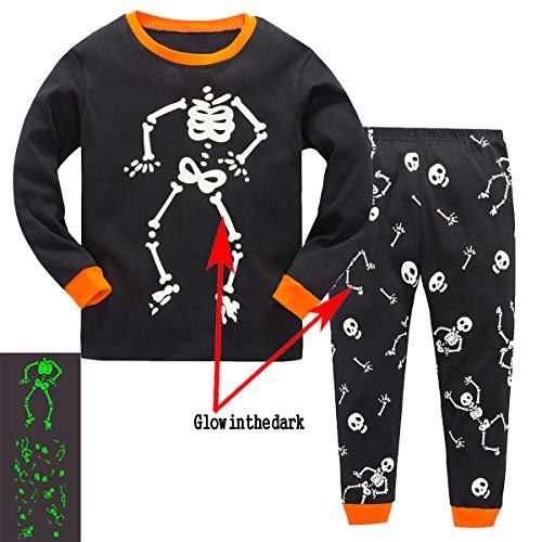 Garsumiss Jungen Schlafanzug Kinder Dinosaurier Pyjamas Sets Kleinkind Pjs Nachtwäsche 2-8 Jahre (104/3 Jahre, Skelett/Leuchten im Dunkeln)