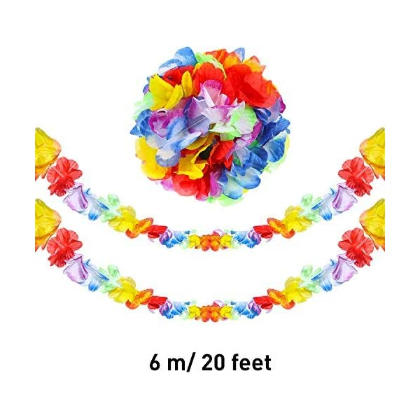Jovitec 4 Piezas 20 Pies de Guirnalda de Flores Tropical de Multicolor Pancarta de Hojas para Decoración Luau Hawaiana