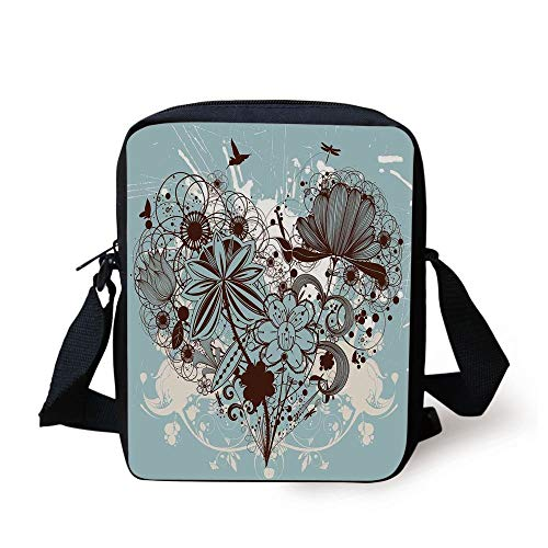 Grunge,Murky Floral Dragonfly Background with Swirls and Petal Retro Graphic,Light Blue Chestnut Brown Print Kids Crossbody Messenger Bag Purse Coffee Brown Swirl