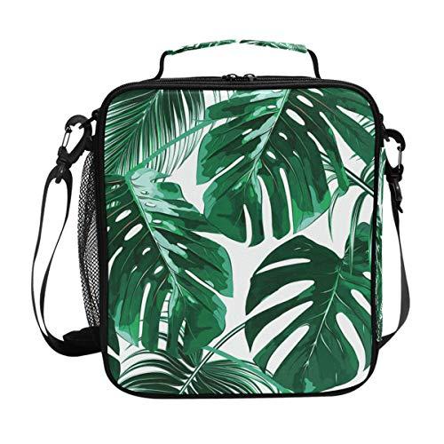 Lunchtasche mit grünen tropischen Blättern, isolierte Lunchbox, Kühler, Schultergurt, Mahlzeiten vorbereiten für Frauen, Männer, Jungen, Mädchen, große Tragetasche für Schule und Büro -