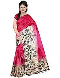 Saree(Women's Clothing Saree For Women Latest Design Wear Sarees New Collection In Blue And Gajri Bhagalpuri Silk...