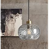 Casamotion Hanging Light With Black Sand Powder Mini Pendant Light Handblown Rustic Seeded Glass Drop Ceiling Lights - Clear