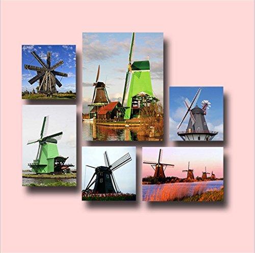 WP- giardino in stile europeo pittura mulino a vento senza cornice composizione pittura decorativa (1 set)