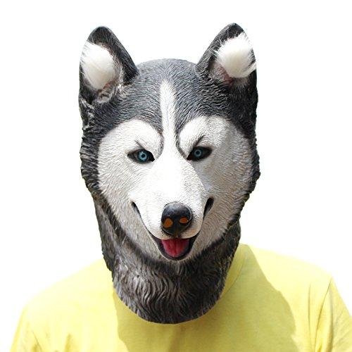 PartyCostume Deluxe Neuheit-Halloween-Kostüm-Party-Latex-Tierkopf-Schablone Masken Hund (Husky) Kostüme Für Kinder-hund