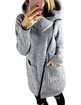 [Patrocinado]Mujer Casual chaqueta largo abrigo sudadera cremallera Tops outwear by Amlaiworld --- Chaqueta de talla grande...