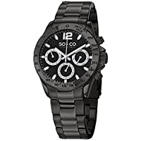 So & Co New York Monticello Men's Quartz Watch With Black Dial Analogue Display and Silver Stainless Steel Bracelet 5001.3