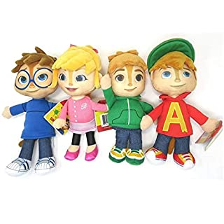 ALVIN And The Chipmunks COMPLETE SET 4 PLUSHIES Peluche 22cm Theodore Simon Brittany ORIGINAL Fisher Price