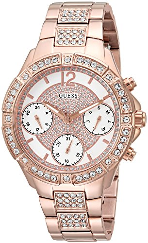 GUESS Women's Stainless Steel Crystal Watch, Color Rose Gold-Tone (Model: U1071L3)
