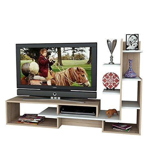 Alphamoebel Easyfurn wohnwandk OMBI TV médias Meuble Bas Mild Murale en Blanc de Somon