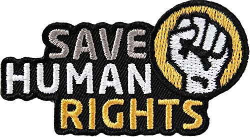 2 x Save Human Rights Abzeichen 72x42 mm / Schutz Menschenrechte Mensch Freiheit Gleichheit Recht Leben Gesetz Fairness Asylrecht Arbeit Bildung Würde Ethik Bürger Sozial Staat Gewerkschaft Politik