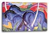Franz Marc - Die großen blauen Pferde (1911), 80 x 60 cm (weitere Größen verfügbar), Leinwand auf Keilrahmen gespannt und fertig zum Aufhängen, hochwertiger Kunstdruck aus deutscher Produktion (Alte Meister bis Moderne Kunst). Stil: Abstrakte Malerei, Abstrakte Kunst, Expressionismus