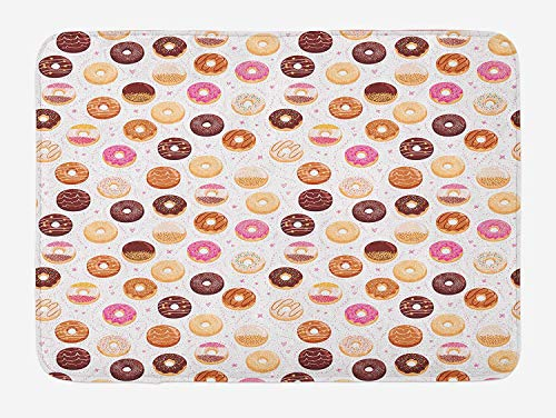 BTGSRK Food Bath Mat, Donuts and Little Hearts Pattern Colorful Yummy Delicious Desserts Artistic Print, Plush Bathroom Decor Mat with Non Slip Backing,Pink Brown 23.6(L) X15.7(W)