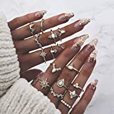 Simsly - Juego de anillos de nudillos con cristales dorados para mujeres y niñas (16 unidades)