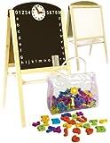 Leomark Lavagna per bambini 2 in 1 Lavagna per dipingere Lavagna magnetica in Legno compresi accessori oltre 100 pezzi giocattoli educativi