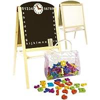 Leomark Table en bois avec Magnetic Letters Tableau à Double Face pour Enfants pour Enfant Dès 3 Ans
