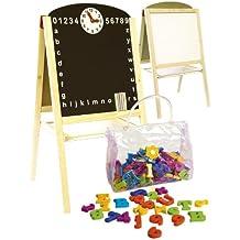 Pizarra infantil 2 en 1 pizarra para pintar pizarra magnética de madera con accesorios