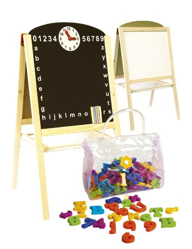 Double-Sided-Black-and-White-Board-Table-Easel-with-Magnetic-Letters
