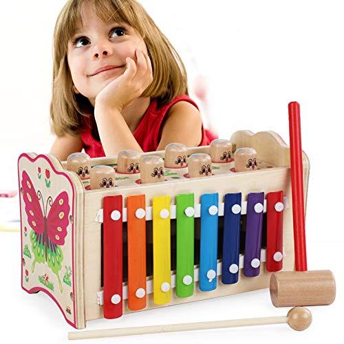 Rclhh Martillo Juguete Madera Banco de Herramientas Xilófono Juguete Musicales,Bebe de Madera Juguete Educativo para Niños 1-3 Old