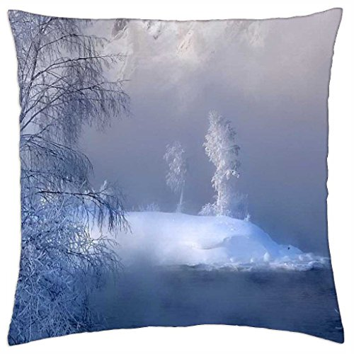 """Frosty Blue - Throw Pillow Cover Case (18"""" x 18"""")"""
