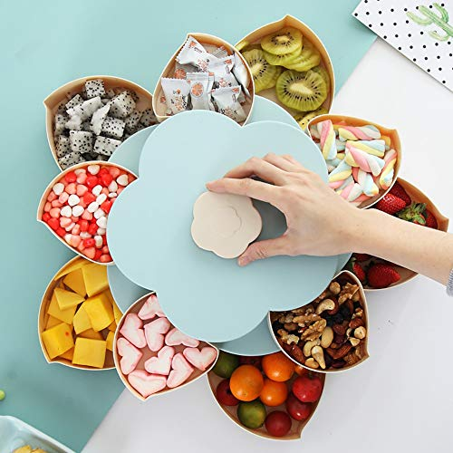 Doppelschicht Süßigkeiten- und Nuss-Serviertablett, Blumen Drehbares Snack-Serviertablett, Aufbewahrungsbox für Lebensmittel, Obstschachtel, Trockenobstbehälter(Blue) (Und Süßigkeiten Nüsse)