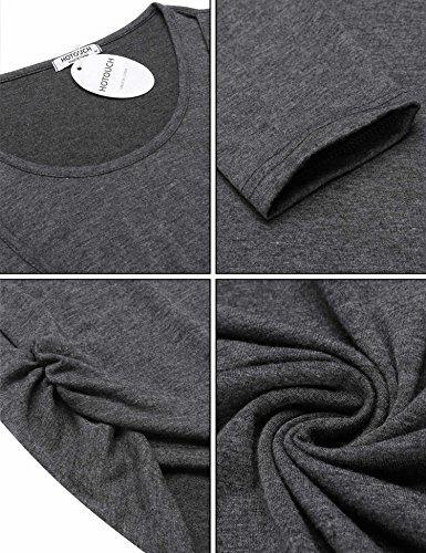 HOTOUCH Damen Schwanger T-Shirt Umstandsmode Stillshirt Umstandsshirt Mutterschaft Umstandstop Mit Rundhalsausschnitt Lang Dunkelgrau