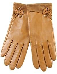 ELMA Nappaleder-Handschuhe, Velours-Aufschlag, Lederschleife, vergoldetes Logo