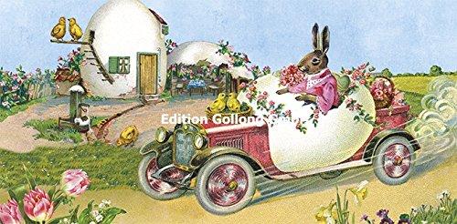 carola-pabst-nostalgic-xl-easter-cards-with-envelopes-rabbit-in-car