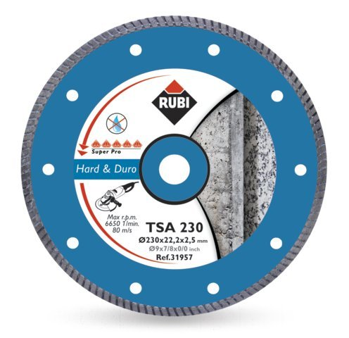 RUBI TSA-SUPERPRO - DISCO DE DIAMANTE PARA MATERIAL DURO (180 MM) COLOR GRIS