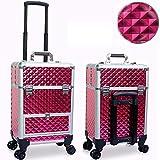 Trolley da Trucco con Ruote Girevoli da 360 Gradi, Beauty Case Valigia Cosmetica Make Up Organizzatore per Truccatori Professionisti