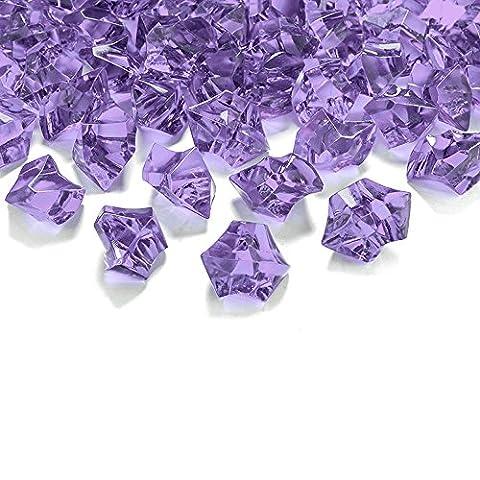 50 Kristall-Steine Flieder 25 mm - Eis Deko Streudeko Diamanten Tischdeko