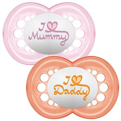 MAM - Conjunto 2 chupetes escrito: Te amo mamá/papá