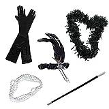 Vococal - Disfraces de Halloween Mujer,5pcs Estilo 1920s Accesorios Traje para Mujer/Señora Incluye Diadema de plumas/Falso falso/Collar de perlas/Guantes/Canastilla de cigarro