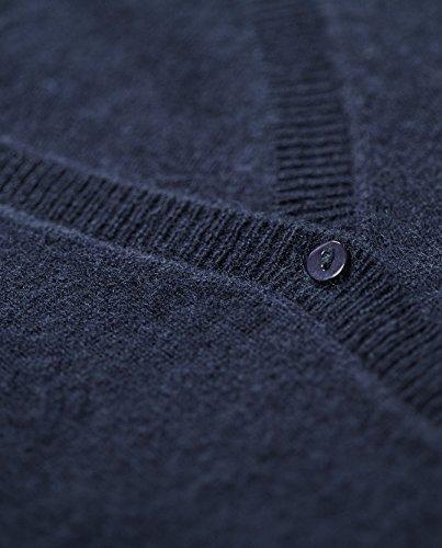 Pull Cardigan Pour Femmes avec un Col en V 100 % Cachemire Bleu Marine