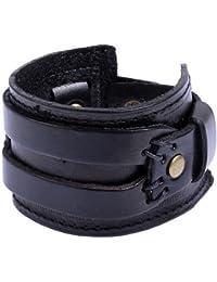 Bracelet Manchette 45mm en Véritable Cuir Noir pour Homme.
